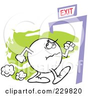 Royalty Free RF Clipart Illustration Of A Moodie Character Angrily Making His Way To An Exit by Johnny Sajem