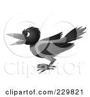 Royalty Free RF Clipart Illustration Of A Black Crow 1 by Alex Bannykh