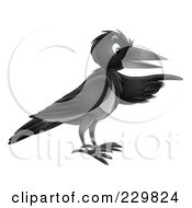 Royalty Free RF Clipart Illustration Of A Black Crow Pointing by Alex Bannykh