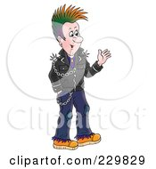 Royalty Free RF Clipart Illustration Of A Friendly Punk Man Waving 1