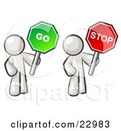 Clipart Illustration Of White Men Holding Red And Green Stop And Go Signs