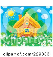 Royalty Free RF Clipart Illustration Of A Cute Log Cabin With A Field Of Daisy Flowers 1