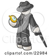 Clipart Illustration Of A White Businessman Checking His Pocket Watch