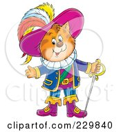 Royalty Free RF Clipart Illustration Of Puss In Boots With A Sword 1