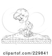 Royalty Free RF Clipart Illustration Of A Coloring Page Outline Of A Boy Playing In A Sand Box by Alex Bannykh