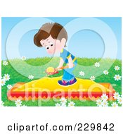 Royalty Free RF Clipart Illustration Of A Boy Playing In A Sand Box 3 by Alex Bannykh