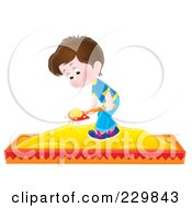 Royalty Free RF Clipart Illustration Of A Boy Playing In A Sand Box 1 by Alex Bannykh
