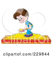 Royalty Free RF Clipart Illustration Of A Boy Playing In A Sand Box 2