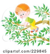 Royalty Free RF Clipart Illustration Of A Boy On A Tree Branch 2