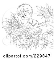 Royalty Free RF Clipart Illustration Of A Coloring Page Outline Of A Boy On A Tree Branch