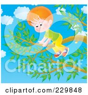 Royalty Free RF Clipart Illustration Of A Boy On A Tree Branch 3
