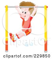 Royalty Free RF Clipart Illustration Of A Boy Playing On A Bar 1