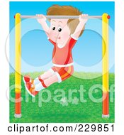 Royalty Free RF Clipart Illustration Of A Boy Playing On A Bar 3