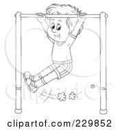 Royalty Free RF Clipart Illustration Of A Coloring Page Outline Of A Boy Playing On A Bar
