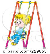 Royalty Free RF Clipart Illustration Of A Little Girl On A Swing 1