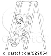 Royalty Free RF Clipart Illustration Of A Coloring Page Outline Of A Little Girl On A Swing by Alex Bannykh