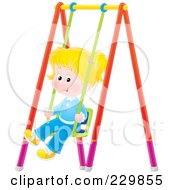 Royalty Free RF Clipart Illustration Of A Little Girl On A Swing 2 by Alex Bannykh