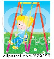 Royalty Free RF Clipart Illustration Of A Little Girl On A Swing 3 by Alex Bannykh