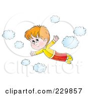 Royalty Free RF Clipart Illustration Of A Boy Flying Near Clouds 1