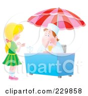 Royalty Free RF Clipart Illustration Of A Girl Counting Change For Ice Cream 2 by Alex Bannykh