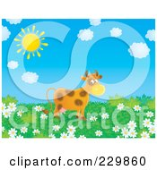 Royalty Free RF Clipart Illustration Of A Cow In A Meadow Of Daisies