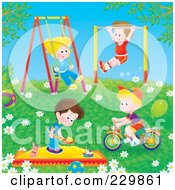 Royalty Free RF Clipart Illustration Of Boys And Girls Playing Outdoors by Alex Bannykh