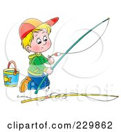 Royalty Free RF Clipart Illustration Of A Boy Kneeling And Preparing A Fishing Pole 1 by Alex Bannykh