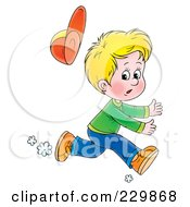 Royalty Free RF Clipart Illustration Of A Blond Boy Running 1