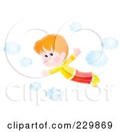 Royalty Free RF Clipart Illustration Of A Boy Flying Near Clouds 2
