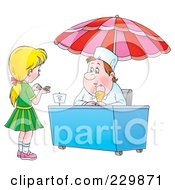 Royalty Free RF Clipart Illustration Of A Girl Counting Change For Ice Cream 1 by Alex Bannykh