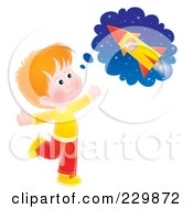 Royalty Free RF Clipart Illustration Of A Boy Daydreaming Of A Rocket