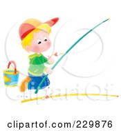 Royalty Free RF Clipart Illustration Of A Boy Kneeling And Preparing A Fishing Pole 2 by Alex Bannykh