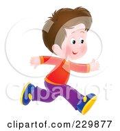 Royalty Free RF Clipart Illustration Of A Brunette Boy Running 2