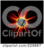 Royalty Free RF Clipart Illustration Of A Hot Explosion Behind Earth On Black