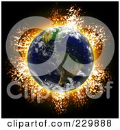 Royalty Free RF Clipart Illustration Of A Fiery Explosion Behind Earth On Black