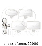 Clipart Illustration Of A White Businessman With Four Different Word Bubbles