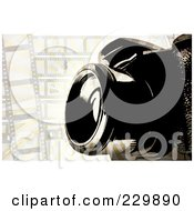 Royalty Free RF Clipart Illustration Of A Camera Over A Grungy Film Frame Background