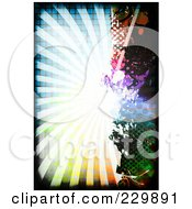 Royalty Free RF Clipart Illustration Of A Grungy Colorful Burst With Splatters And Halftone 1 by Arena Creative