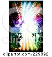 Royalty Free RF Clipart Illustration Of A Grungy Colorful Burst With Splatters And Halftone 1