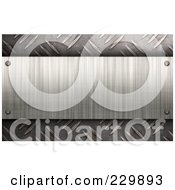 Royalty Free RF Clipart Illustration Of A Brushed Metal Plaque Over Diamond Plate Rivets
