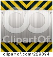 Royalty Free RF Clipart Illustration Of A Brushed Metal Plaque Over Hazard Stripes