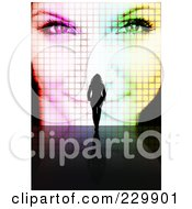 Royalty Free RF Clipart Illustration Of A Silhouetted Woman Walking Towards A Womans Pixelated Face