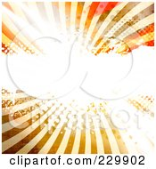 Royalty Free RF Clipart Illustration Of A Bright Light Exploding Over Halftone And Rays