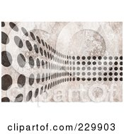 Royalty Free RF Clipart Illustration Of A Grayscale Textured Background With Black Dots Curving