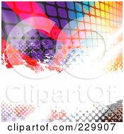 Royalty Free RF Clipart Illustration Of A Background Of Bright Bursts Halftone Pixels And Swooshes