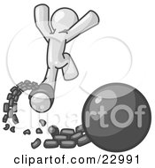 Clipart Illustration Of A White Man Jumping For Joy While Breaking Away From A Ball And Chain Symbolizing Freedom From Debt Or Divorce