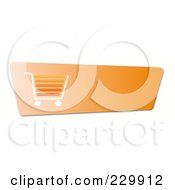 Royalty Free RF Clipart Illustration Of An Orange Shopping Cart Button With A White And Orange Cart And Copyspace