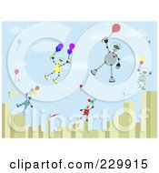 Royalty Free RF Clipart Illustration Of Robots Floating Over A City With Balloons by mheld