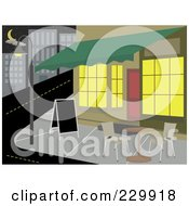 Royalty Free RF Clipart Illustration Of A Blank Sign And Table At A Sidewalk Cafe At Night by mheld