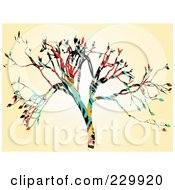 Royalty Free RF Clipart Illustration Of An Abstract Colorful Tree On Beige by mheld